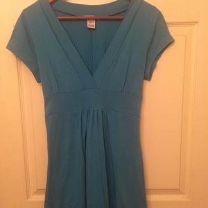 Turquoise summer dress. Stretchy. Size Large